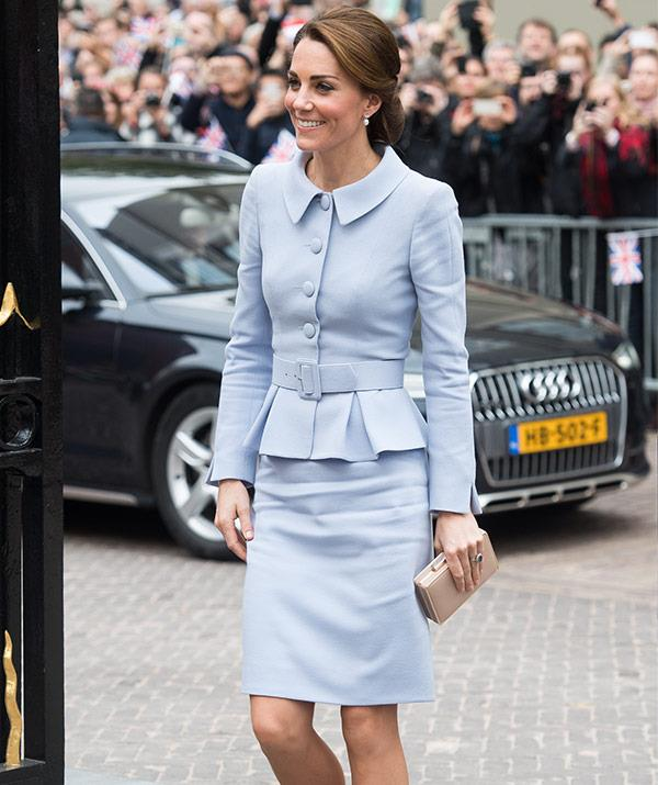 So nice, Kate wore this powder-blue suit twice!