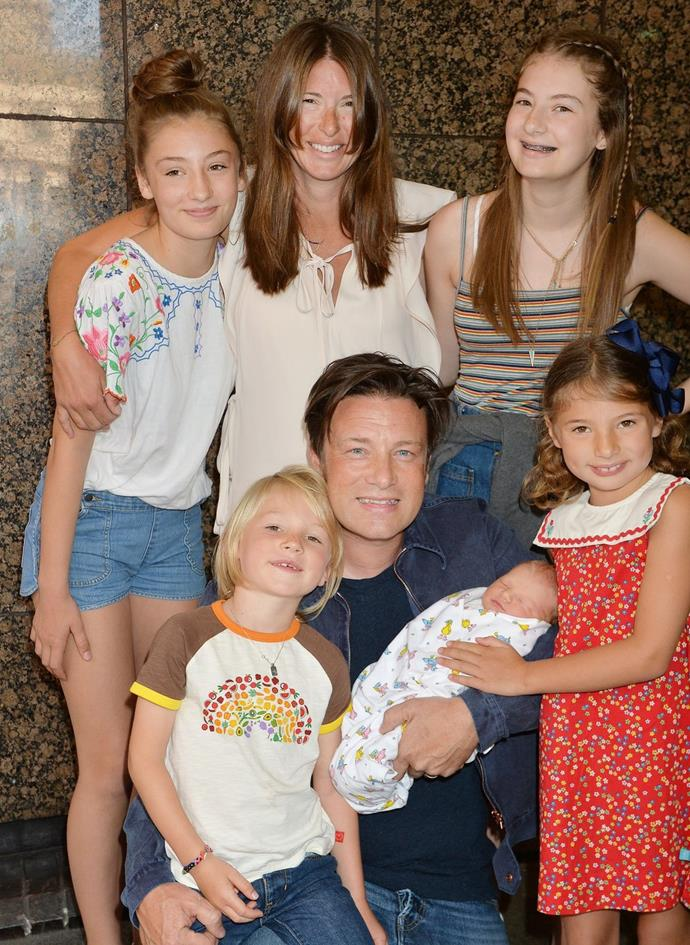 Jamie Oliver with wife Jools and their children.