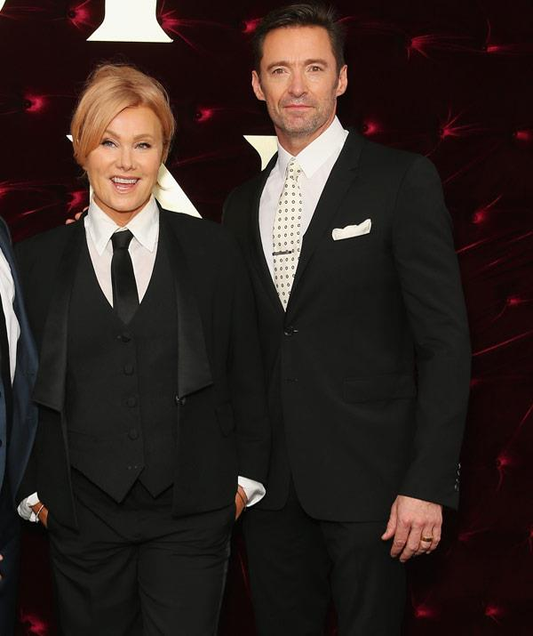 Hugh Jackman and Deborra-lee Furness suited up in coordinating ensembles for the Sydney premiere of *The Greatest Showman*.
