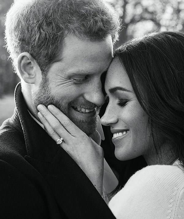 Harry and Meghan were the definition of loved-up in their engagement photos. *(Image: Instagram @kensingtonroyal)*
