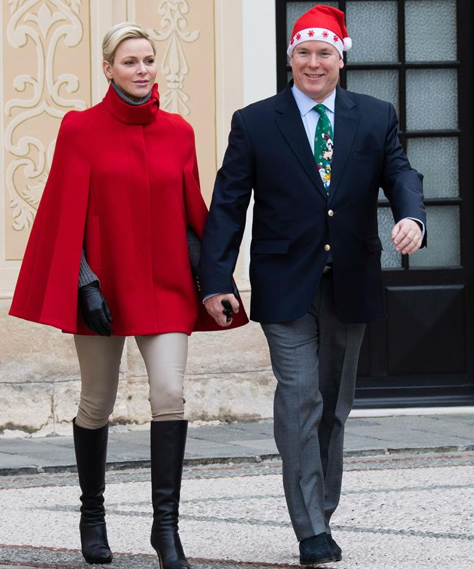Princess Charlene and Prince Albert were met with utter joy as they arrived to the palace courtyard for the annual party.