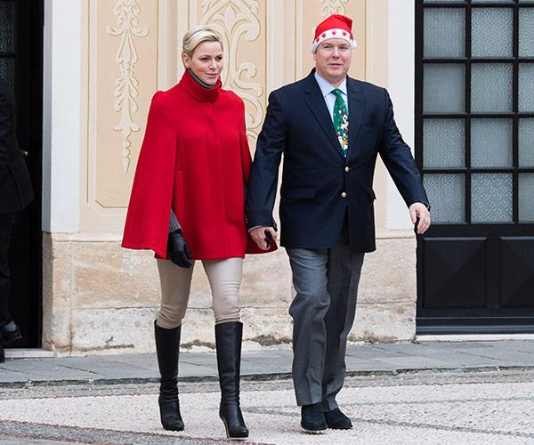 Prince Albert and Princess Charlene got very festive at this year's annual palace Christmas party.