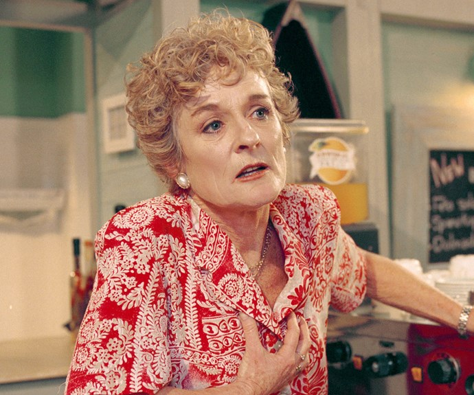 **18. AILSA STEWART (JUDY NUNN), 1988-2000, 2002-2003** Long before Leah and Irene ran the Diner, it was owned by Alf's wife, Ailsa, and Bobby (Nicolle Dickson). Practical, caring and down-to-earth, Ailsa was always on hand to listen to other people's problems. On the surface, she appeared a model citizen, but Ailsa had a secret – she'd been jailed for murdering her abusive father. After surviving everything from a mudslide to an armed hold-up during her years in the Bay, Ailsa died of a heart attack.