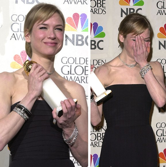 **Renée Zellweger's ill-timed bathroom break.** The Bridget Jones Diary actress had a bit of a Bridget moment herself when Hugh Grant announced her as the 2001 Golden Globe winner for Best Actress in a Musical or Comedy for Nurse Betty, and she was nowhere to be seen. It was only after her co-star Hugh started to accept the award on her behalf that the actress appeared, making a beeline for the stage where she admitted she had been in the bathroom removing lipstick from her teeth.