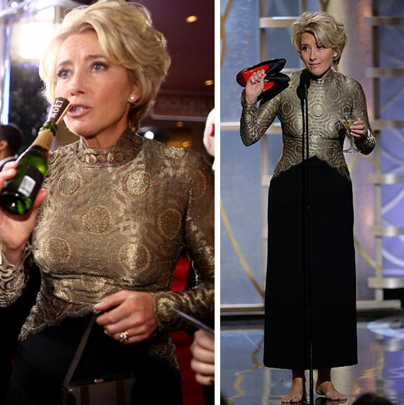 **When Emma Thompson become our martini-sipping hero.** In 2014, while presenting the award for Best Screenplay, Emma Thompson walked on stage with her shoes in one hand and her martini in the other. *Queen*. When it all proved too difficult to juggle her shoes, cocktail and the envelope, the actress chucked her shoes side-stage and handed her drink to the attendant. See the hilarity unfold in the video below.