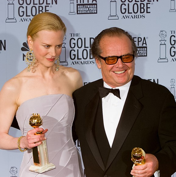 "**Jack Nicholson admits he's high on Valium**. He's won more Golden Globes than any other actor, and when it comes to most outrageous acceptance speeches, the *As Good As It Gets* star also takes home the gong. Jack's most jaw-dropping speech happened in 2003 after he scored the globe for Best Actor in a Drama for *About Schmidt*. While on stage, the actor quipped, ''I don't know whether to be happy or ashamed because I thought we made a comedy... Dermot Mulroney, his haircut alone should have let you know it was a comedy.'' He also took a jab at Nicole Kidman (""Doesn't [she] look lovely with her old nose?""), and then explained his wacky behaviour by revealing: ""I took a valium tonight."""
