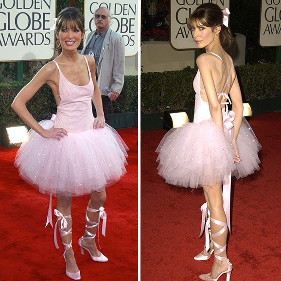 **Lara Flynn Boyle's ballerina blunder.** The Golden Globes red carpet has seen plenty of questionable gowns, but none other caused a stir like Lara Flynn Boyle's tutu at the 2003 award show. Not only did the *Twin Peaks* actress's choice of black-tie attire miss the mark, there was also a lot of talk about her dramatically slimmed down physique.