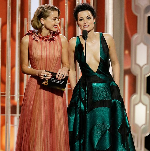 "**Amber Heard and Jaimie Alexander vs the teleprompter.** It was a case of 'technical difficulties' in 2016 that sent the audience into awkward laughter when actresses Amber Heard and Jaimie Alexander had a battle with the teleprompter. While presenting at the 2016 Golden Globes, the starlets struggled to read their lines until Jaimie cursed, ""Dude, who's typing this sh--?"""