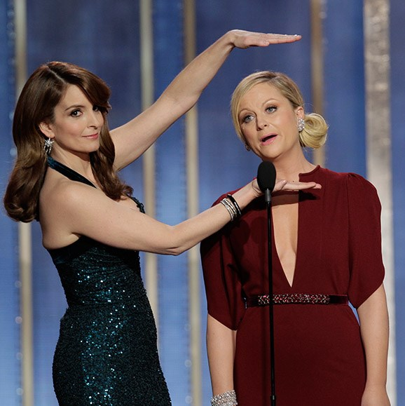 "**Tina Fey and Amy Poehler take down the men of Hollywood.** Hosts Tina and Amy's opening monologues are always comedic genius. ""And now, like a supermodel's vagina, let's all give a warm welcome to Leonardo DiCaprio…"" was an unforgettable segue at the 2014 show. And how could we forget the time the ladies took down Hollywood king George Clooney: ""George Clooney married Amal Alamuddin this year. Amal is a human rights lawyer who worked on the Enron case; was an adviser to Kofi Annan regarding Syria; and was selected for a three-person UN commission investigating rules of war violations in the Gaza Strip. So tonight… her husband is getting a lifetime achievement award."" Bravo!"