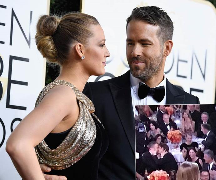 **Ryan Reynolds and Andrew Garfield steal Gosling's limelight with a pash.** Ryan Gosling may have won the award for best actor at the 2017 Golden GLobes... But Ryan Reynolds won the best reaction to losing an award. Dealing with the fallout, the Deadpool actor decided to lock lips with fellow nominee Andrew Garfield.