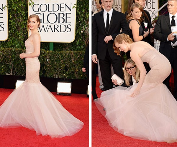 The 2013 Golden Globes certainly had its share of trouble! The ever-demure Amy Adams nearly came undone when her heel hooked into the fishtail of her dress.