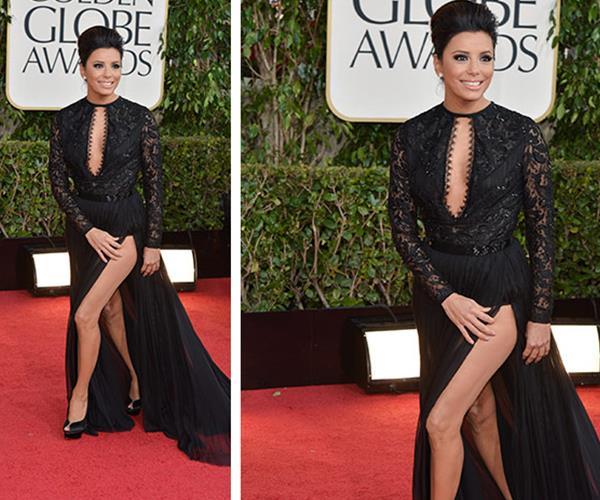 At the 2013 Golden Globes, Eva showed off more than she bargained for when her thigh-high cut lived up to its reputation of being difficult to navigate.