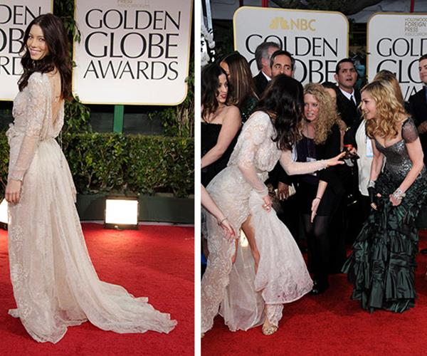 At first glance, this could be the start of a brawl or even a Renaissance painting. Fortunately (or maybe unfortunately) it's actually the aftermath of Madonna accidentally stepping on and coming *very* close to ripping Jessica Biel's dress at the 2012 Golden Globes. The two managed to avoid disaster and laugh it off.