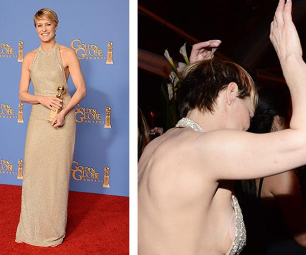 Actress Robin Wright won a Globe for her iconic role in *House of Cards*. While celebrating her well-deserved win, however, the nipple covers made a guest appearance.