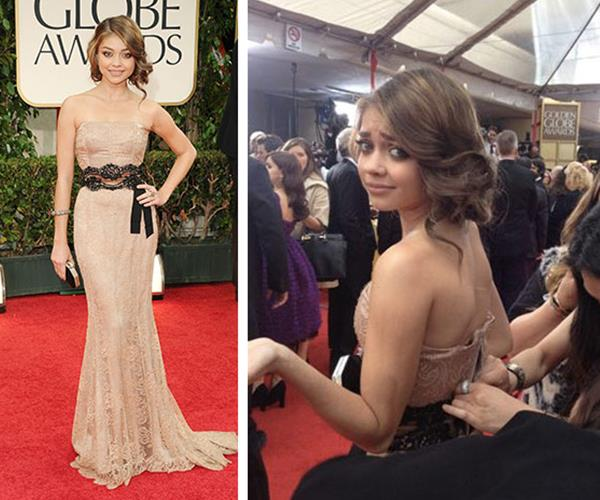 Modern Family's Sarah Hyland's zipper bust at the 2012 Golden Globes. The actress laughed it off as her stylists sewed her back into place.