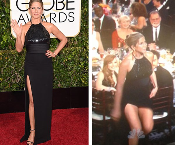 Jennifer Aniston may have been courting trouble with her thigh-high split at the 2015 Globes. The star nearly flashed her knickers as she got up to present the first award of the night, but handled it with her usual level of grace.