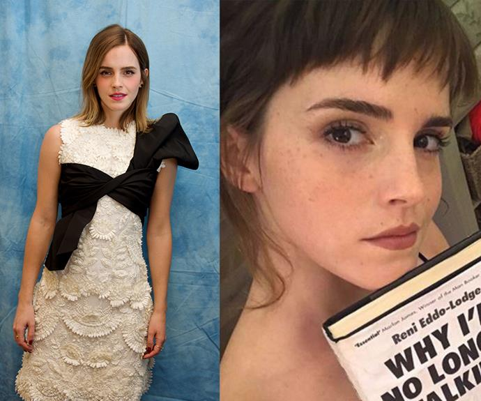 All grown up and glamorous as ever, Emma Watson chopped her grown-out, gently ombre locks, opting for spliced strands up front in a darker, block hue. The result? Charming *and* disarming.