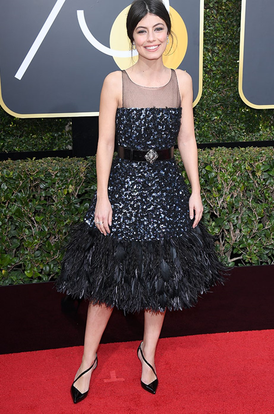 *Master of None*'s **Alessandra Mastronardi** wore a gorgeous (black) ruffled dress...