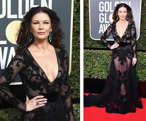 Catherine Zeta-Jones is a total knock-out in this sheer creation. The mother-of-two's emerald green statement earrings add a bright touch.