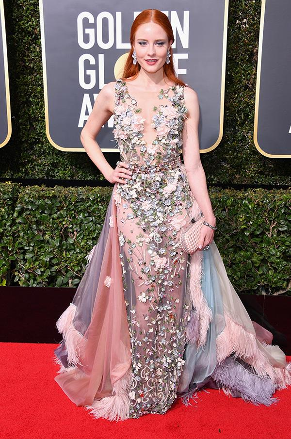 "German model Barbara Meier opted for a glittering gown instead of an all-black number, like the majority of Golden Globe attendees. In an Instagram post explaining her decision to wear a colourful dress, the 31-year-old model said she disagreed with the directive to wear black saying she believed it was a step backwards for women. ""We were fighting a long time for the freedom to wear what we want to and that it is also ok, to dress up a little more sexy. If we now restrict this, because some men can't control themselves, this is a huge step back in my opinion,"" she wrote."
