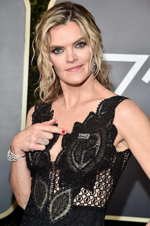 Missi Pyle wearing Time's Up badge.