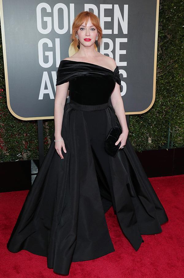 We're mad for Christina Hendricks sultry dark dress.
