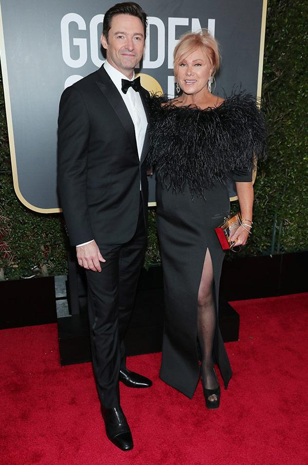 Australia's golden couple Hugh Jackman and Deborra Lee Furness couldn't look more in love! It's a huge night for Hugh, who is nominated for best actor in a musical or comedy for *The Greatest Showman*.