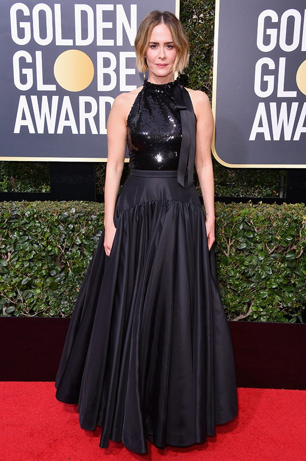 Last year's best actress in a mini-series winner Sarah Paulson gives us a touch of glitter in this sparkling bodice.