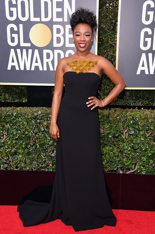 *Orange is the new Black* star Samira Wiley steps out in a strapless dress with an intricate neck-piece.