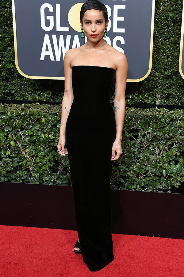 Zoe Kravitz cuts a stunning figure in this chic strapless look.
