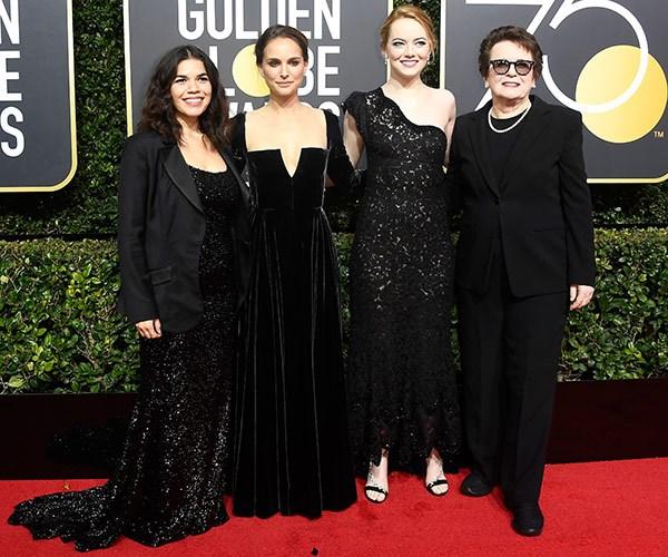 Girl power! America Ferrera, Natalie Portman and Emma Stone, and former tennis player Billie Jean King