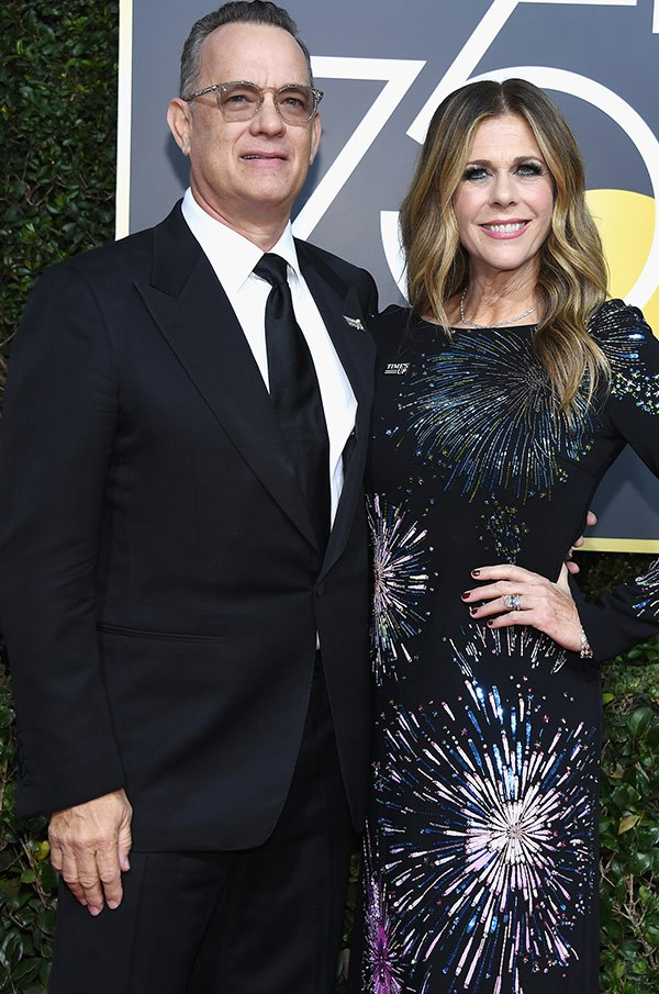 Tom Hanks with his beaming wife Rita Wilson.