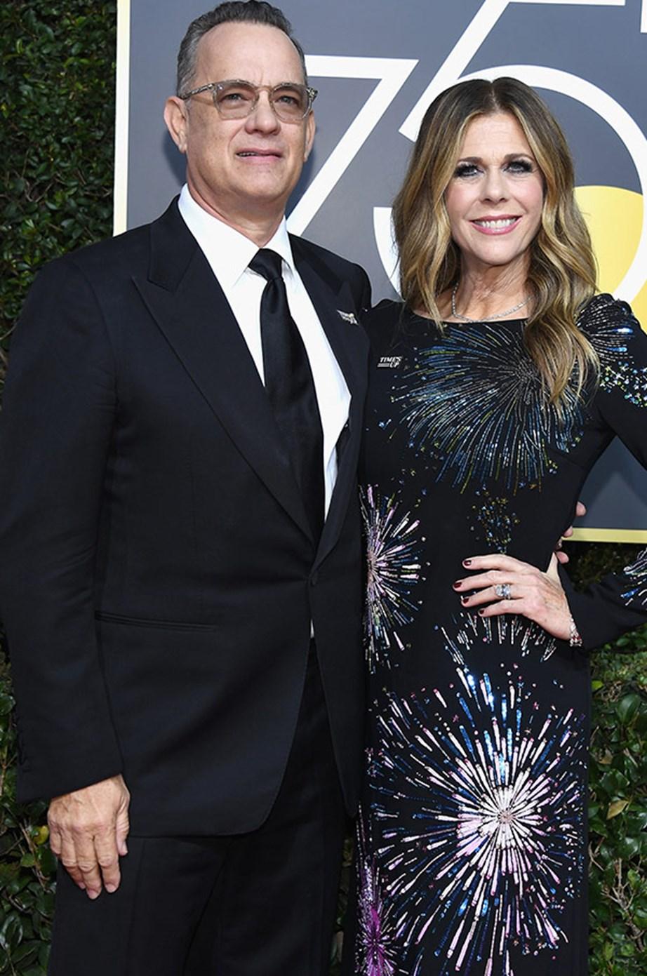 Tom Hanks with his beaming wife Rita Wilson.