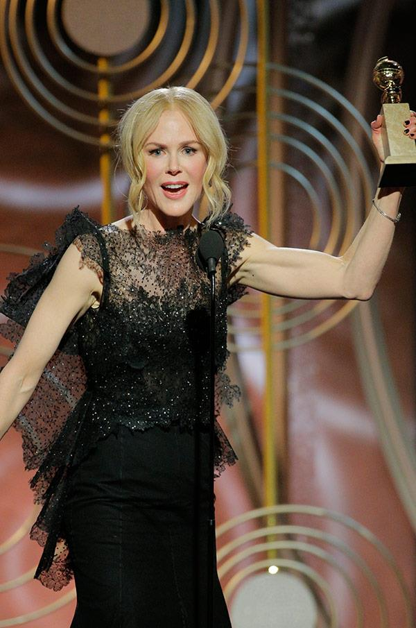 "[Nicole Kidman took home the Golden Globe](https://www.nowtolove.com.au/lifestyle/lifestyle-news/nicole-kidman-2018-golden-globes-acceptance-speech-44048|target=""_blank"") for Best Television Performance by an Actress in *Big Little Lies*."