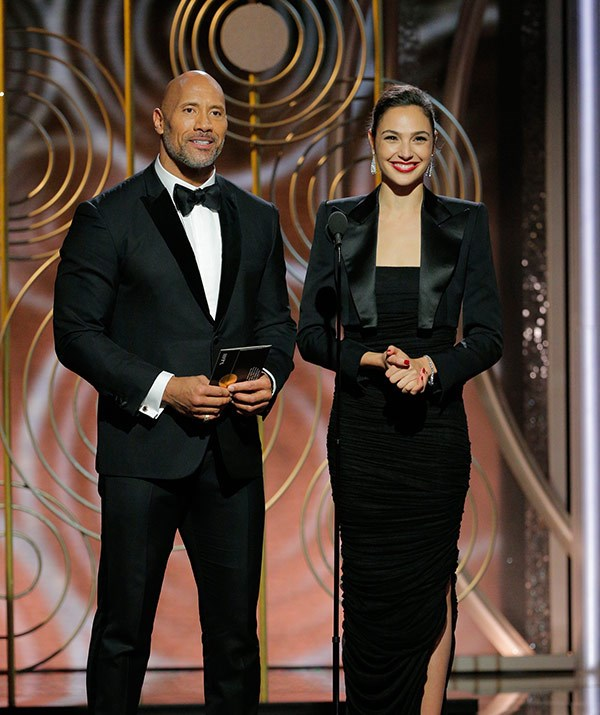 "Dwayne ""The Rock"" Johnson and Gal Gadot take to the stage."