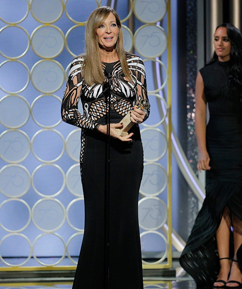 Allison Janney wins Supporting Actress Golden Globe and paid tribute to Tonya Harding in her speech.
