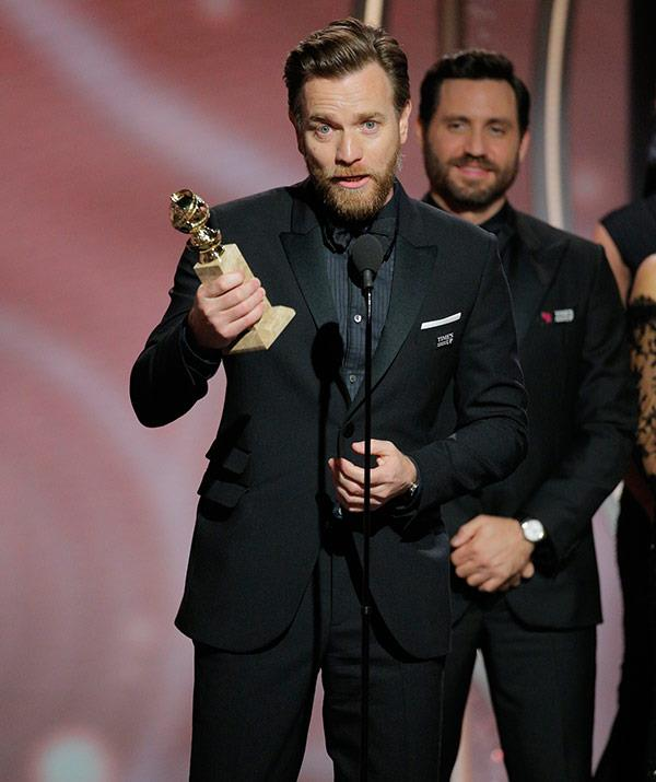 "*Fargo* star Ewan McGregor wins best actor in a limited series. The star used his speech to thank his ex-wife Eve who ""stood by me for 22 years."""