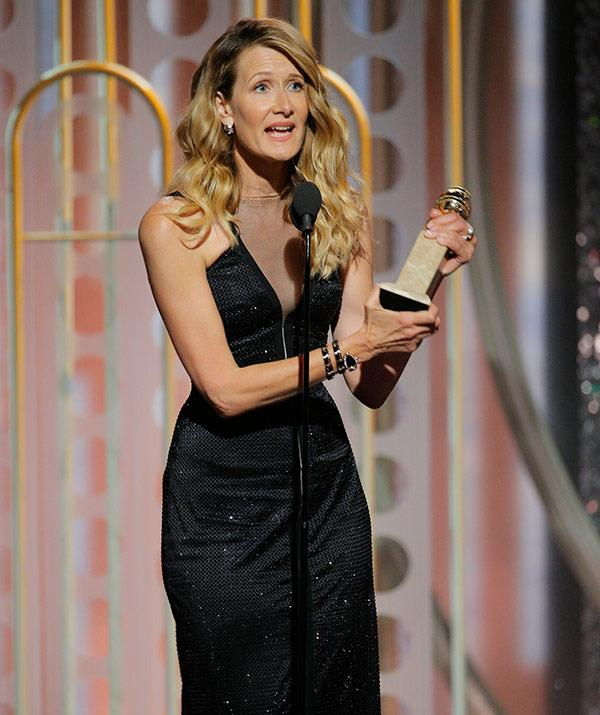 It's another win for *Big Little Lies!* Laura Dern wins Best Performance by an Actress in a Supporting Role in a TV Series or TV Movie award.