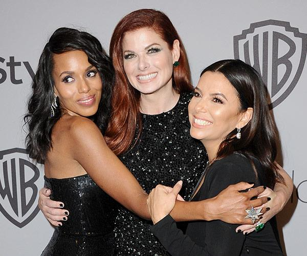 Kerry Washington, Debra Messing and Eva Longoria hug it out at the Warner Bros. Pictures And InStyle annual bash.