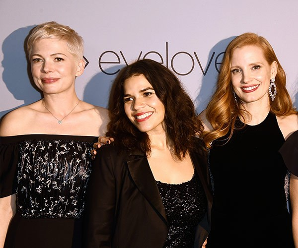 It's a power pack! Michelle Williams, America Ferrera and Jessica Chastain cuddle up.