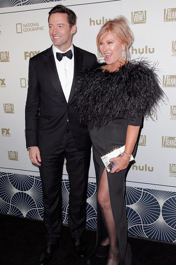 Deborra-lee Furness stuns in a textured dress with a daring split.