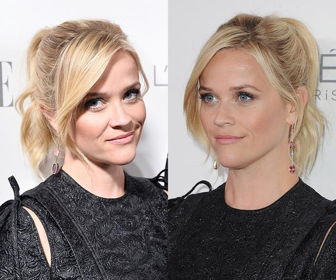 """**Reese Witherspoon's** glam up 'do proves ponytails shouldn't be reserved for the gym or bad hair days. With a tousled texture and face-framing fringe, the style will add a casual coolness to any summer party look. Curl the mid-lengths to ends of your hair using a tong or straightener (don't forget the heat protector first!) before pulling your hair up into a high ponytail. Leave the front couple of inches out and spray all over with a flexible hold hairspray.  <br>*Brought to you by [Pantene](https://www.pantene.com.au/en-au