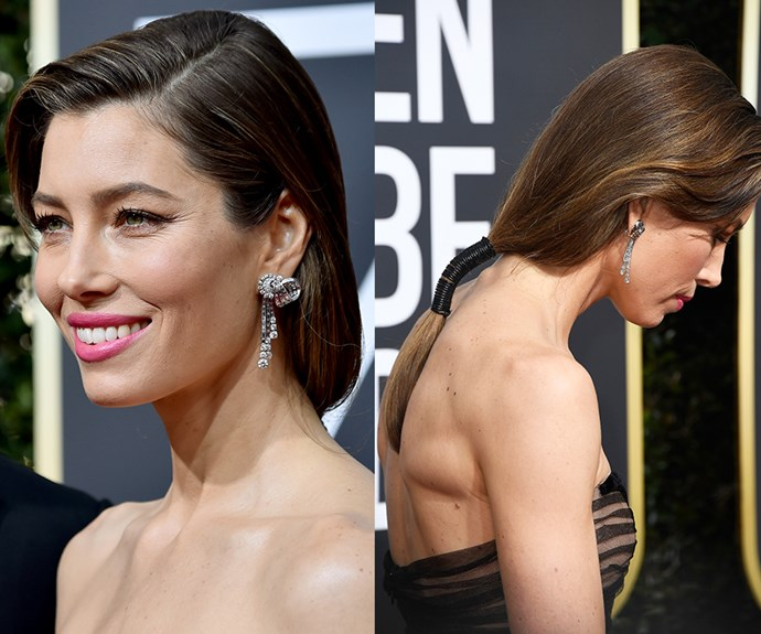 If you plan to spend all of winter hibernating in front of Netflix (same), go out with a bang and make a style statement with a faux-bob effect embellished ponytai like **Jessica Biel's**. It's a clever way to test-try a shorter style before *actually* committing to the chop. All you need to do is pull your hair back into a ponytail, tying the elastic about 15cm below the nape of your neck. Then wrap black ribbon or twine around the ponytail, covering the elastic. The result? A high-fashion look that takes less than five minutes!