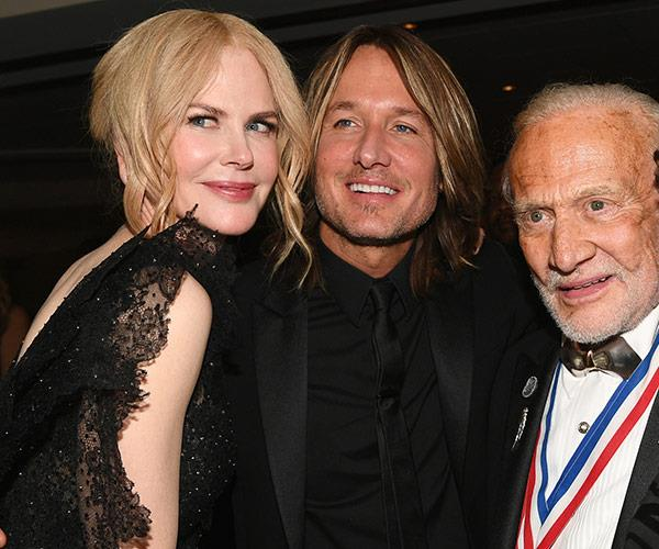 Nicole Kidman and Keith Urban with astronaut Buzz Aldrin.