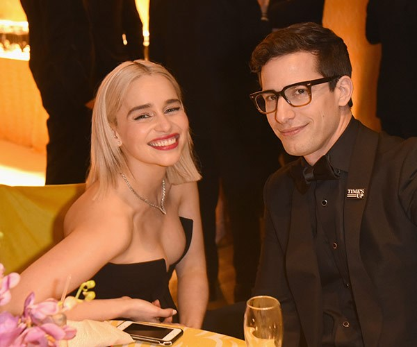 Emilia Clarke hangs out with Andy Samberg... And we bet comedy ensued.