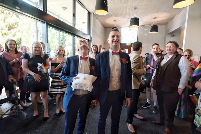 Ron Van Houwelingen and Antony McManus got married in the theatre where they met 30 years ago in Prahran, Melbourne.