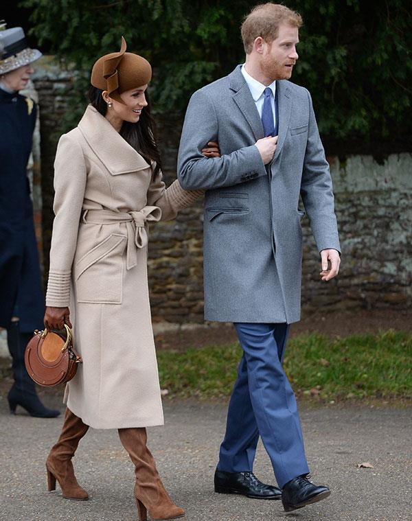"Meghan made a very stylish Sandringham for [the annual Christmas service](https://www.nowtolove.com.au/christmas/royal-christmas/meghan-markle-kate-middleton-prince-harry-william-royal-christmas-43850|target=""_blank""), donning a camel coat by Sentaler teamed with a brown hat and matching brown boots and a Chloe 'Pixie' bag."
