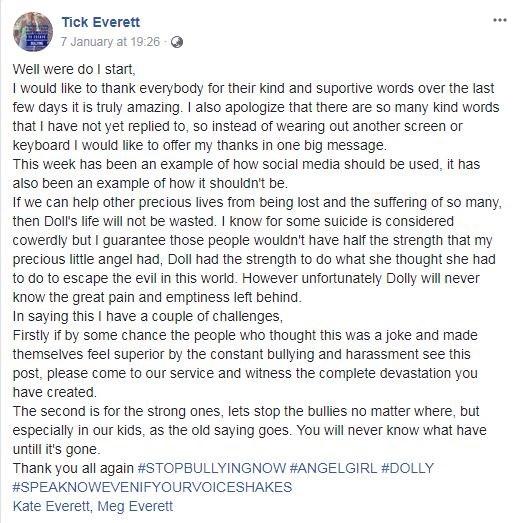 Mr Everett's Facebook post.