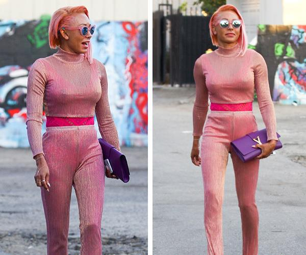 Not long ago Scary-Spice Mel B pumped up her cropped locks with a orange-tinge pink hue. But then...