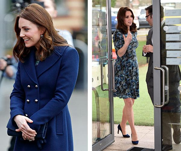 Kate shines in her navy Hobbs coat teamed with her Seraphine floral print dress.